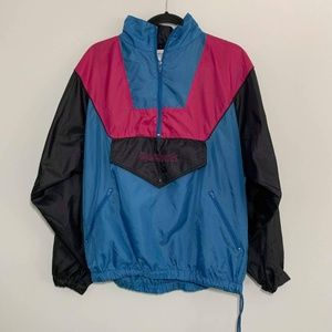 {M} Vintage Reebok Blue Black Pink Windbreaker